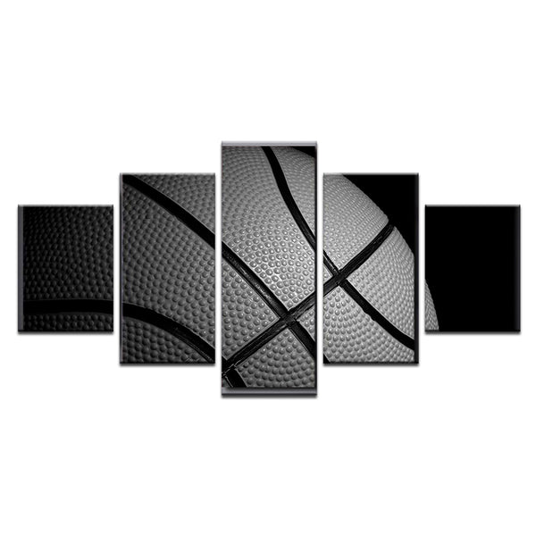 Basketball In Black And White 5 Panel Canvas Print Wall Art