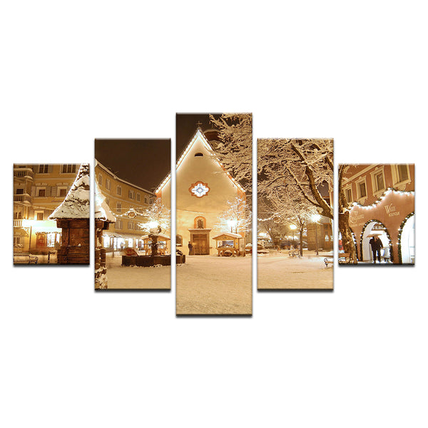 Val Gardena Ski Resort Village In Winter Italy 5 Panel Canvas Print Wall Art