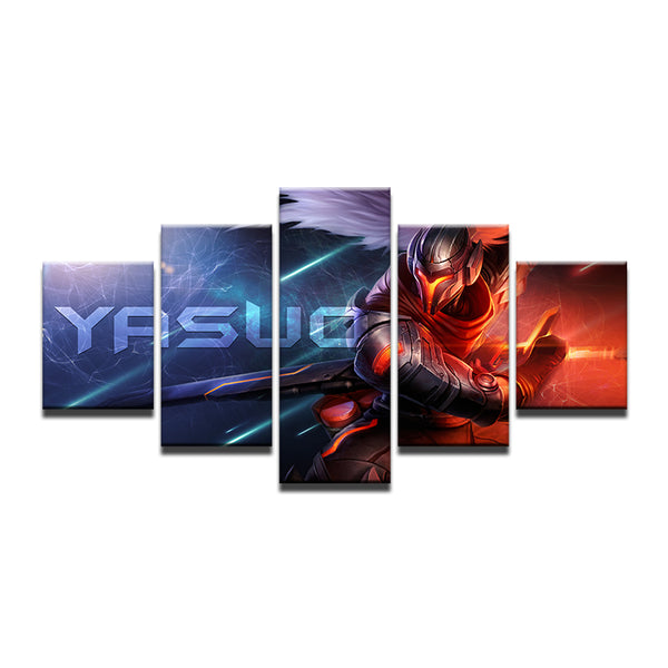 League Of Legends Yasuo 5 Panel Canvas Print Wall Art