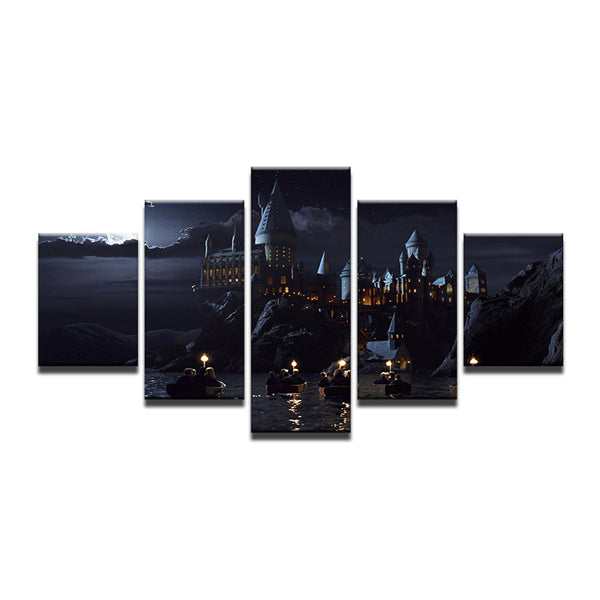Harry Potter Hogwarts Castle 5 Panel Canvas Print Wall Art