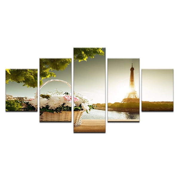 Eiffel Tower Flower Basket Paris 5 Panel Canvas Print Wall Art