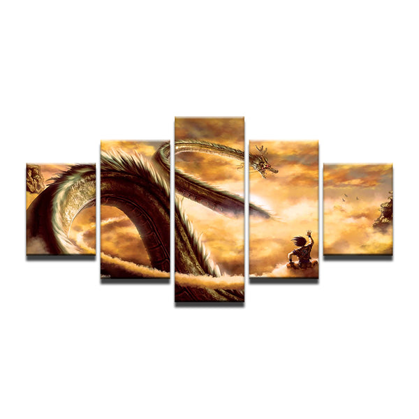 Dragon Ball Z Shenron 5 Panel Canvas Print Wall Art