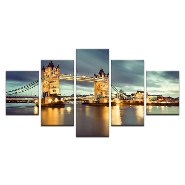 London England Tower Bridge 5 Panel Canvas Print Wall Art