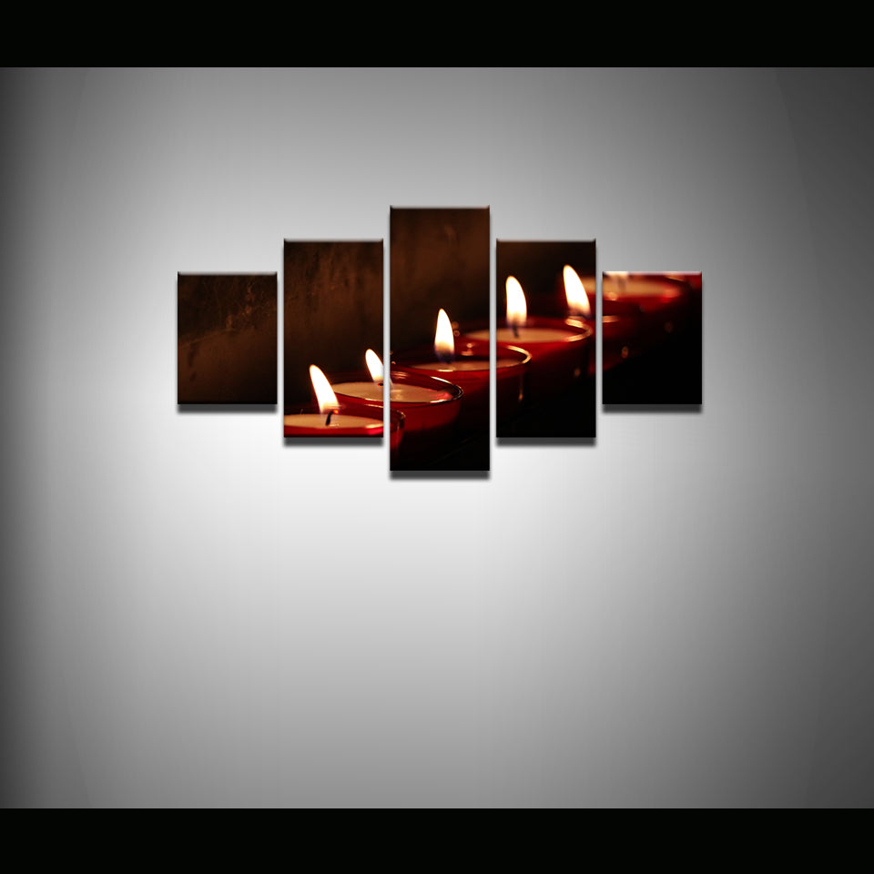 Prayer Candles 5 Panel Canvas Print Wall Art
