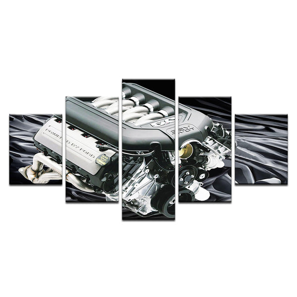 Ford 5.0L 32 Valve DOHC Coyote Engine 5 Panel Canvas Print Wall Art