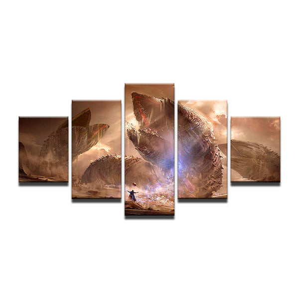 Dune Sandworms 5 Panel Canvas Print Wall Art