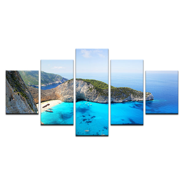 "Navagio ""Shipwreck"" Beach Greece 5 Panel Canvas Print Wall Art"