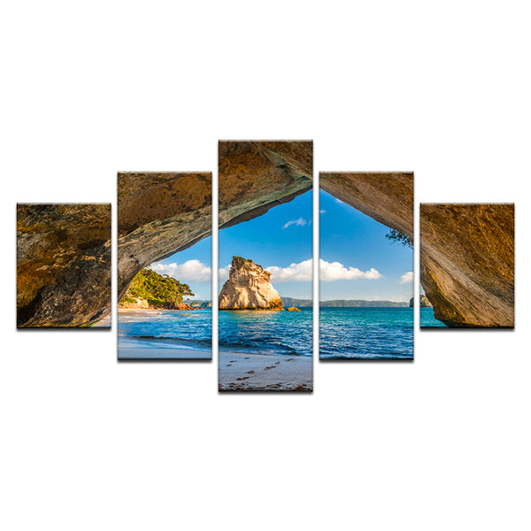 Beach Cave 5 Panel Canvas Print Wall Art