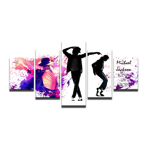 Michael Jackson King Of Pop 5 Panel Canvas Print Wall Art
