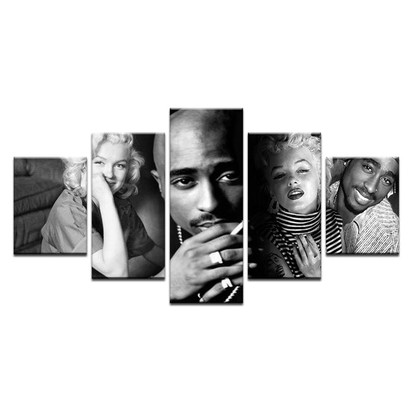 Tupac Shakur 2Pac Marilyn Monroe 5 Panel Canvas Print Wall Art