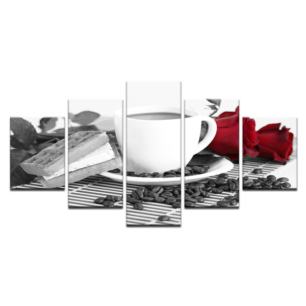 Coffee And Roses 5 Panel Canvas Print Wall Art