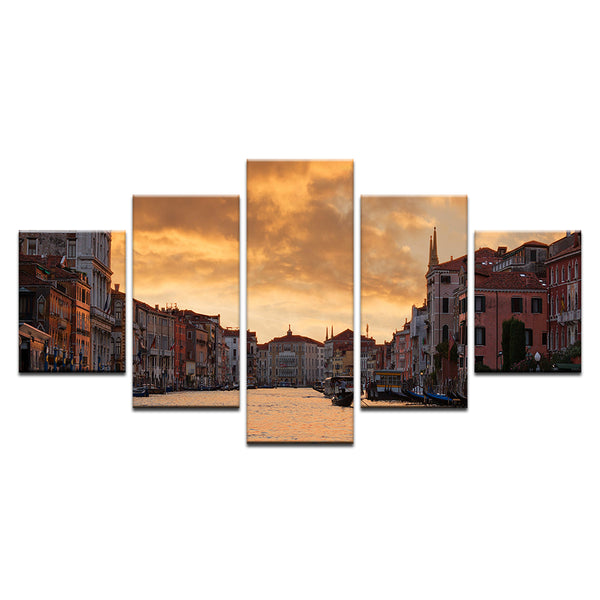Sunset Venice Italy 5 Panel Canvas Print Wall Art