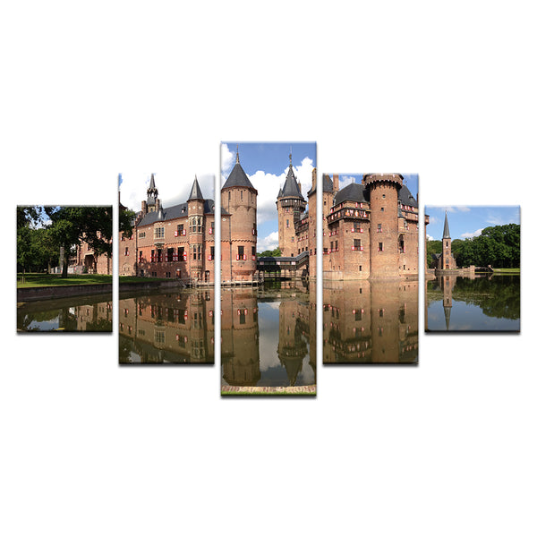 De Haar Castle Utrecht Netherlands 5 Panel Canvas Print Wall Art