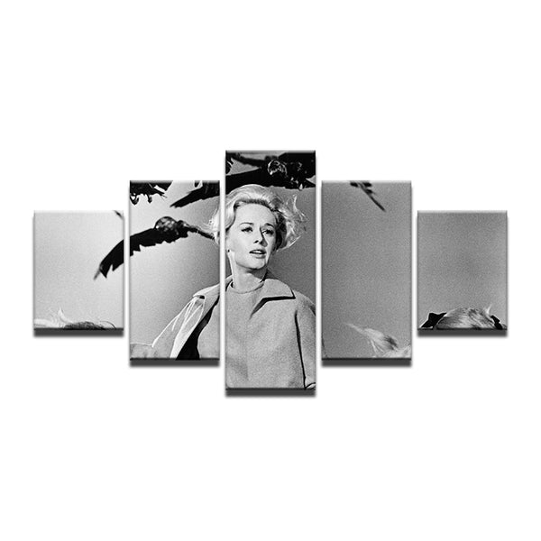 The Birds Alfred Hitchcock 5 Panel Canvas Print Wall Art