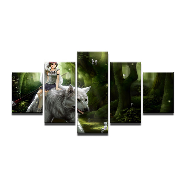 Princess Mononoke 5 Panel Canvas Print Wall Art