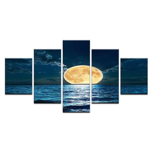 Full Moon Rising From The Sea 5 Panel Canvas Print Wall Art