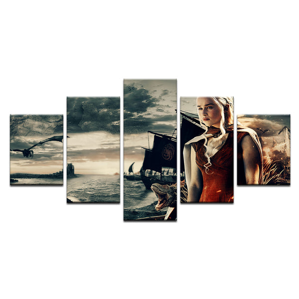 Game of Thrones Daenarys 5 Panel Canvas Print Wall Art