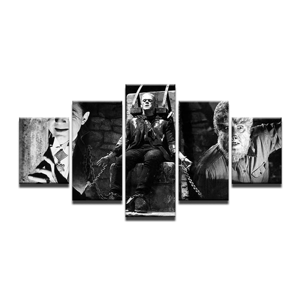Classic Horror Movie Monsters Dracula Frankenstein 5 Panel Canvas Print Wall Art