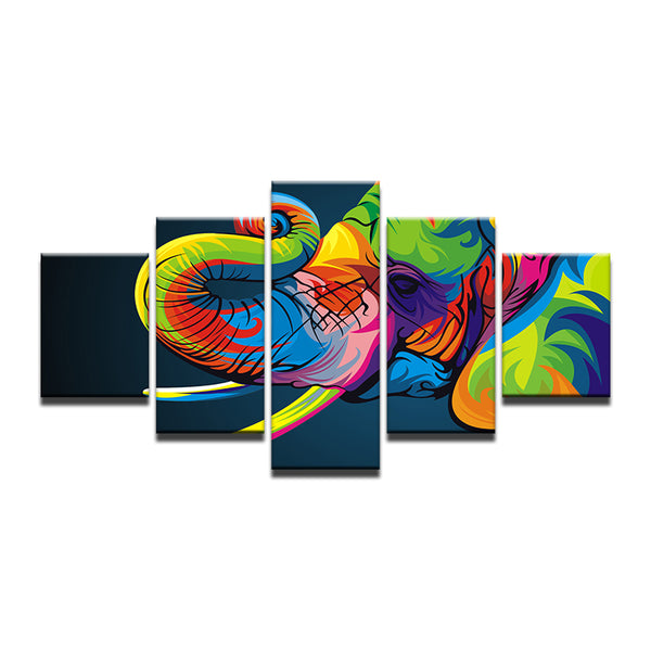 Rainbow Abstract Elephant 5 Panel Canvas Print Wall Art