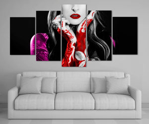 Beautiful Tattoo Girl 5 Panel Canvas Print Wall Art