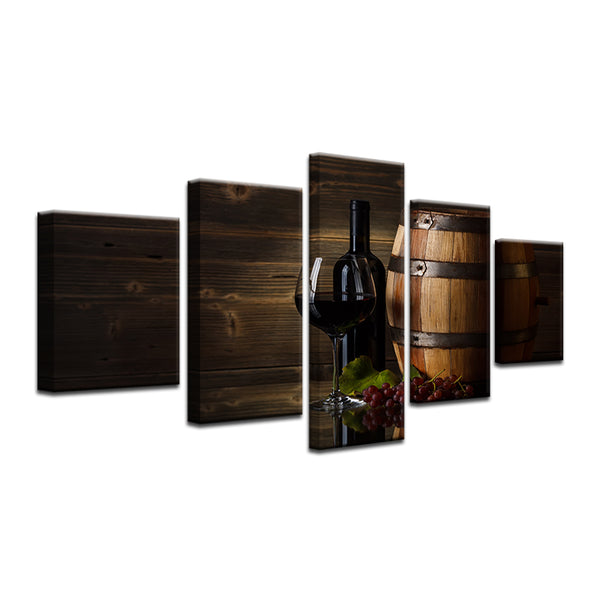 Wine 5 Panel Canvas Print Wall Art