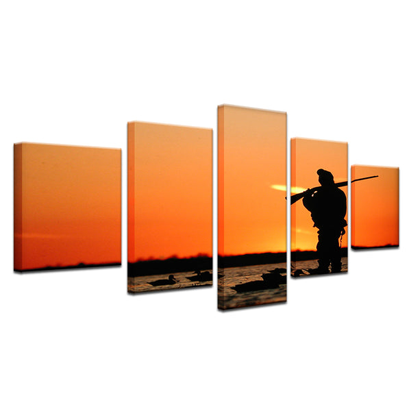 Duck Hunting 5 Panel Canvas Print Wall Art