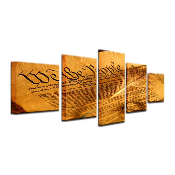US Constitution 5 Panel Canvas Print Wall Art
