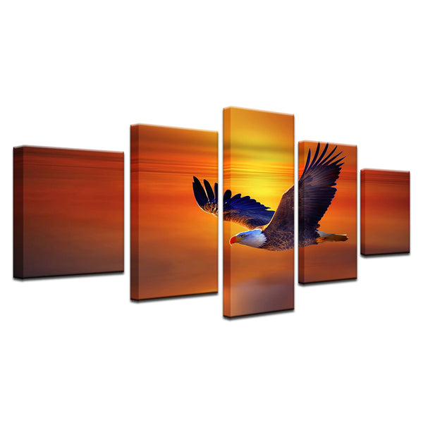 Bald Eagle In Flight At Dawn 5 Panel Canvas Print Wall Art