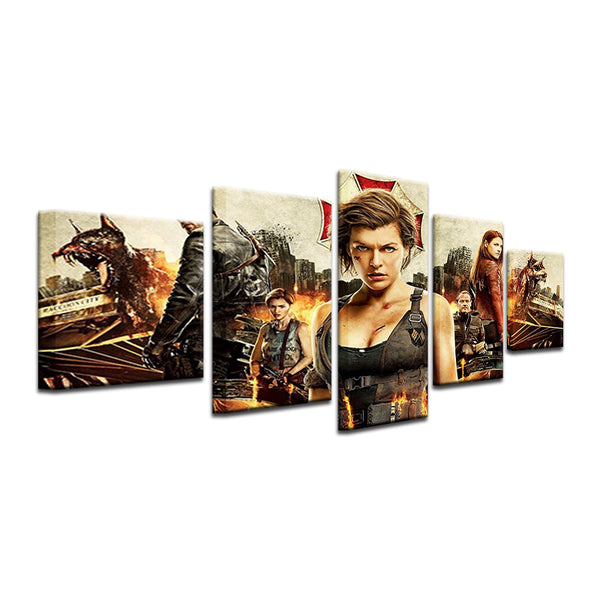 Resident Evil Movie 5 Panel Canvas Print Wall Art