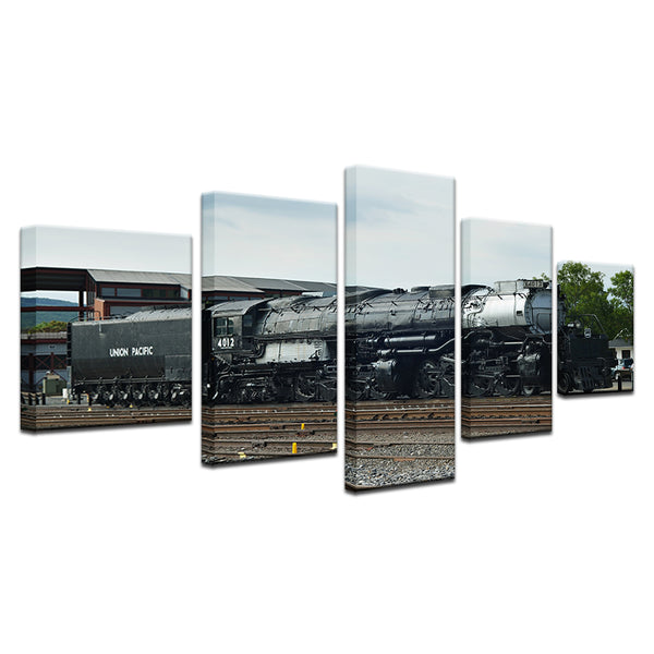 Union Pacific UP 4012 Big Boy Steam Locomotive 5 Panel Canvas Print Wall Art