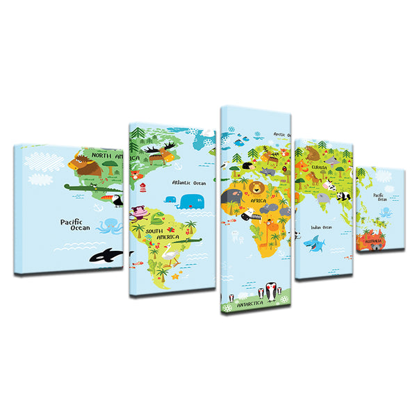 World Map For Kids 5 Panel Canvas Print Wall Art