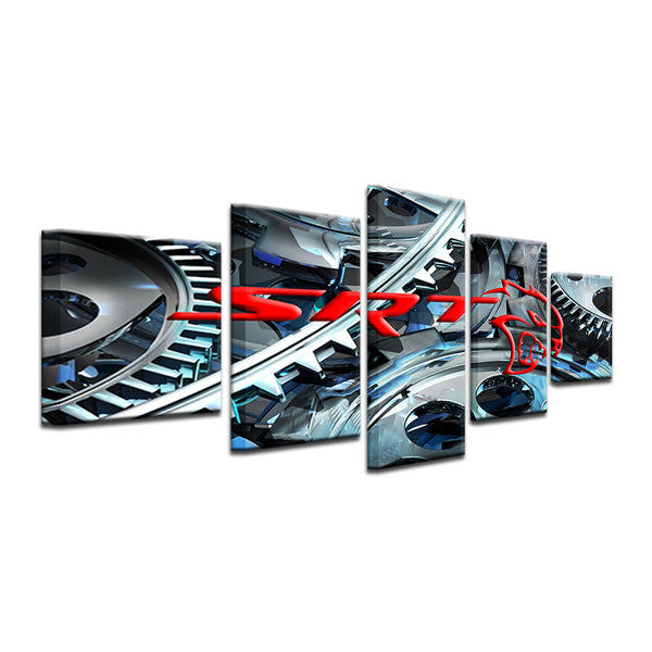 Dodge Challenger SRT Hellcat 5 Panel Canvas Print Wall Art