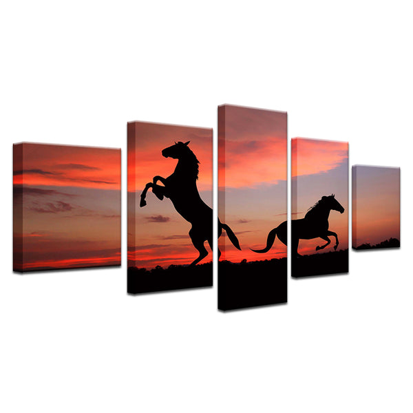 Wild Horses At Sunset 5 Panel Canvas Print Wall Art