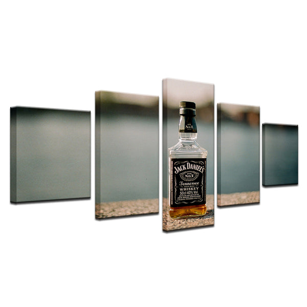 Jack Daniels 5 Panel Canvas Print Wall Art