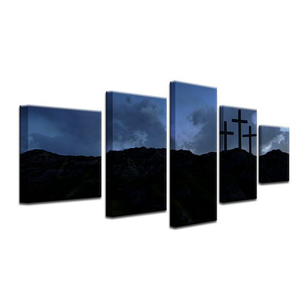 Crosses On The Hill 5 Panel Canvas Print Wall Art