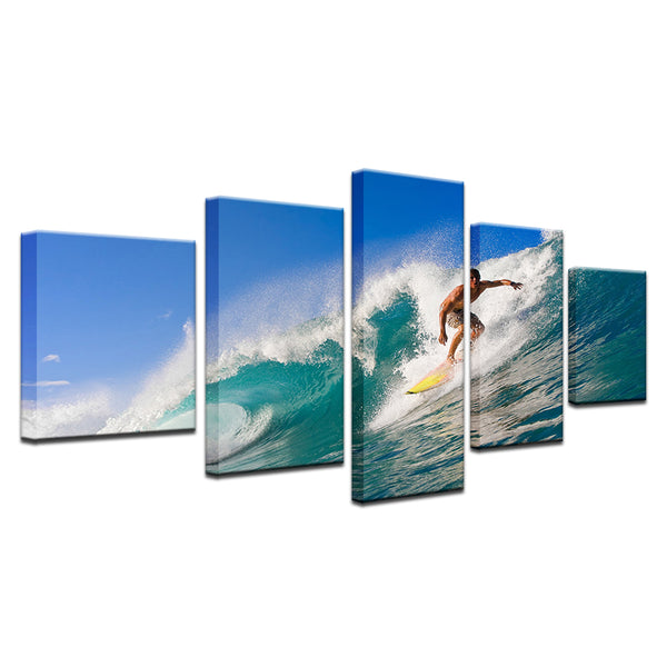 Surfing Surfer 5 Panel Canvas Print Wall Art