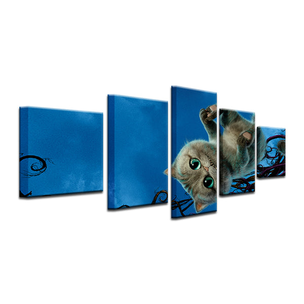 Alice In Wonderland 2010 Cheshire Cat 5 Panel Canvas Print Wall Art