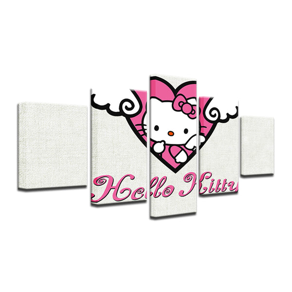 Hello Kitty 5 Panel Canvas Print Wall Art