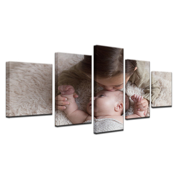 Mother And Child 5 Panel Canvas Print Wall Art