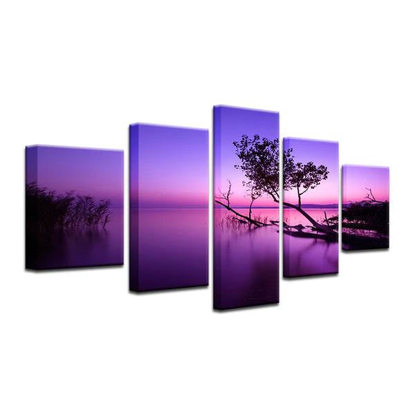 Mirror Lake Purple Sunrise 5 Panel Canvas Print Wall Art