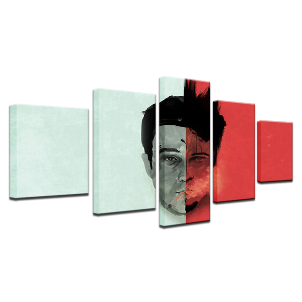 Fight Club Brad Pitt Tyler Durden 5 Panel Canvas Print Wall Art