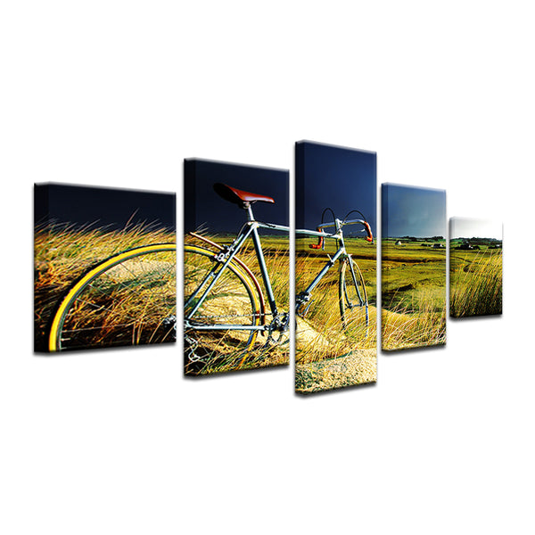 Vintage 10 Speed In A Wheat Field 5 Panel Canvas Print Wall Art