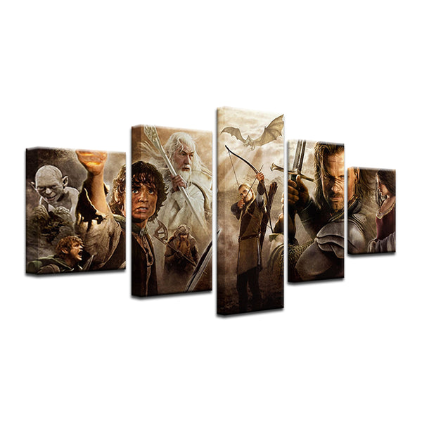 Lord Of The Rings Character Collage 5 Panel Canvas Print Wall Art