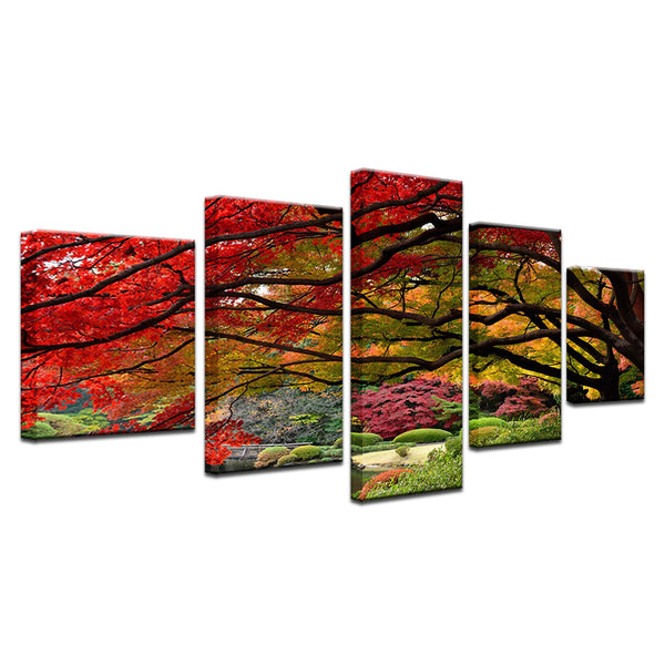 Red Maple In Botanical Garden 5 Panel Canvas Print Wall Art