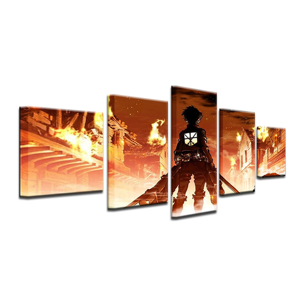 Attack On Titan 5 Panel Canvas Print Wall Art
