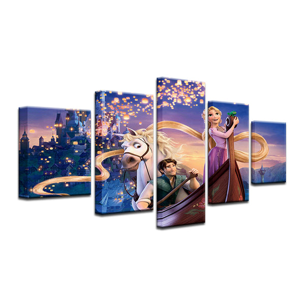 Tangled Disney 5 Panel Canvas Print Wall Art