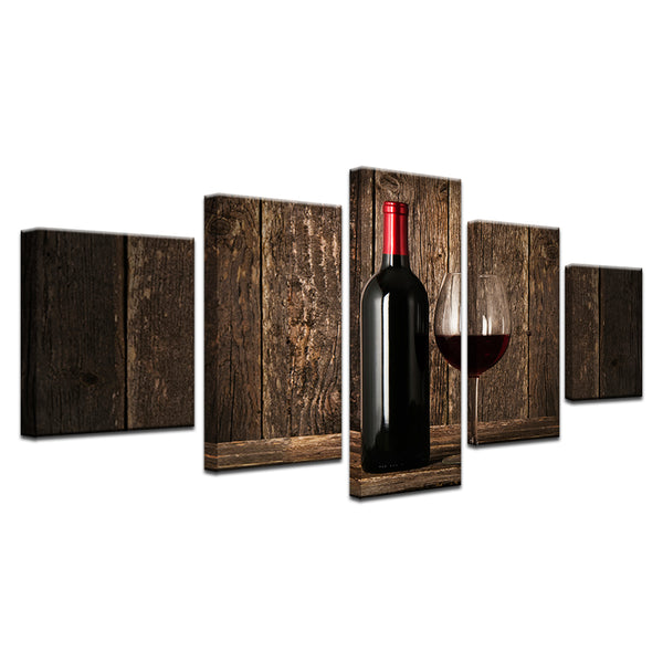Red Wine 5 Panel Canvas Print Wall Art