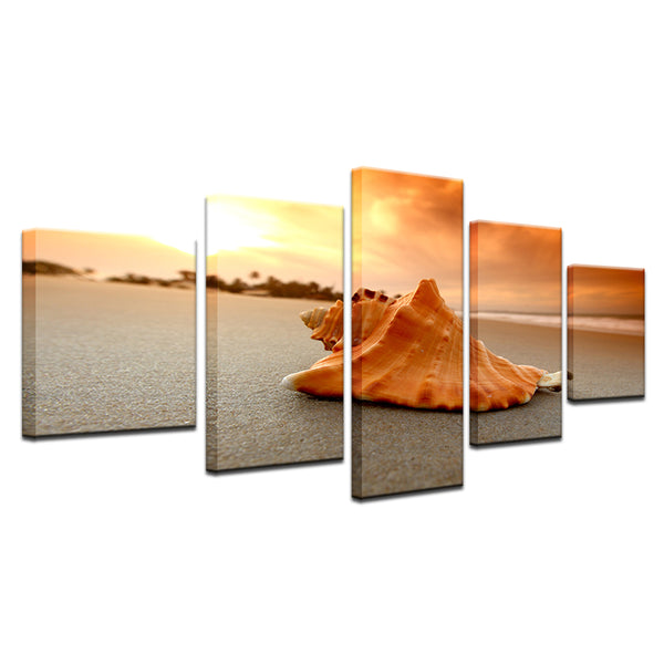 Conch Shell On The Beach 5 Panel Canvas Print Wall Art