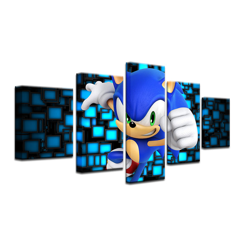 Sonic The Hedgehog 5 Panel Canvas Print Wall Art Gotithere Com