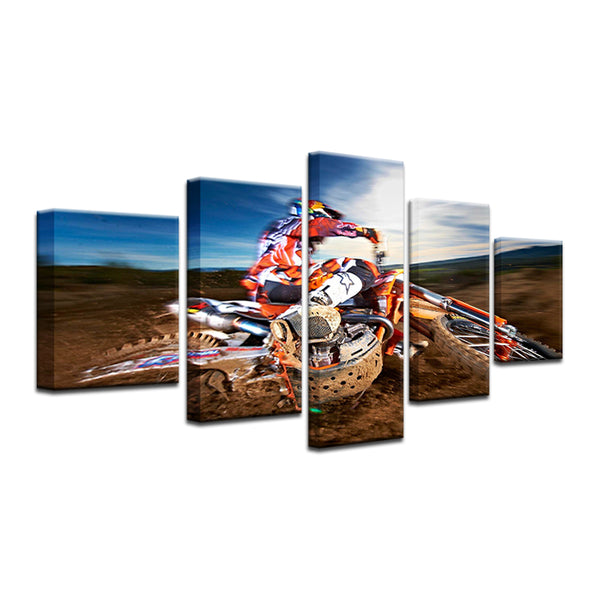 Dirt Bike Motocross 5 Panel Canvas Print Wall Art